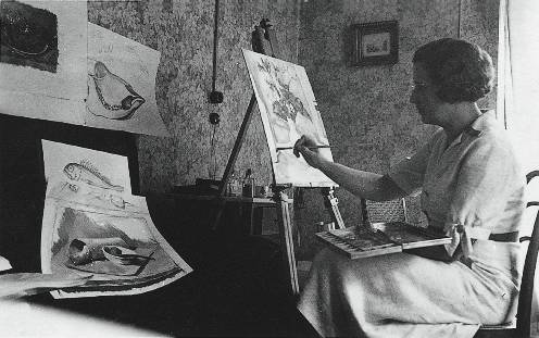 Mãe (Lucilia) pintando